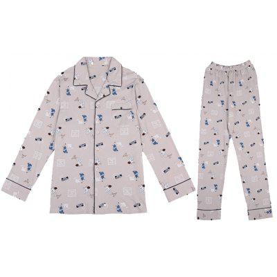 Men's Pajamas Long-Sleeved Cotton Cardigan Lapel Suits
