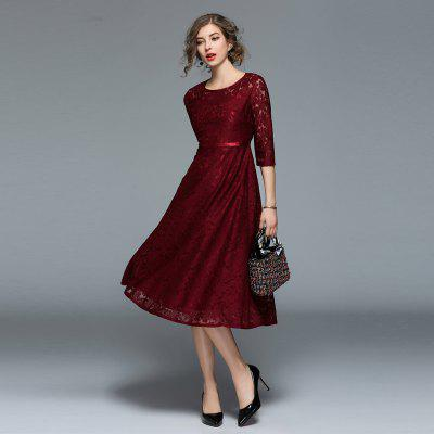 Fashionable Round Collar Lace DressWomens Dresses<br>Fashionable Round Collar Lace Dress<br><br>8119609: None<br>Dresses Length: Mid-Calf<br>Elasticity: Micro-elastic<br>Embellishment: Lace<br>Fabric Type: Lace<br>Material: Lace<br>Neckline: Round Collar<br>Package Contents: 1xDress<br>Pattern Type: Solid<br>Season: Spring<br>Silhouette: A-Line<br>Sleeve Length: 3/4 Length Sleeves<br>Style: Fashion<br>Waist: Natural<br>Weight: 0.3800kg<br>With Belt: No