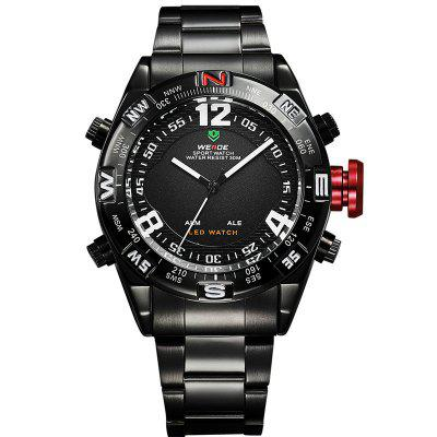 WEIDE Casual Quartz Analog Digital LED Multi-Functional Big Dial Display 3ATM Water Resistant Watches