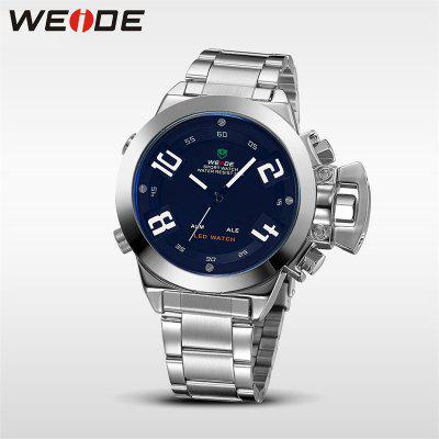 WEIDE Dual Time Zone Digital Analog Watch Men Wrist Multi-Functional Sport WatchMens Watches<br>WEIDE Dual Time Zone Digital Analog Watch Men Wrist Multi-Functional Sport Watch<br><br>Band material: Stainless Steel<br>Band size: 21.8 x 2.2cm<br>Case material: Stainless Steel<br>Clasp type: Double buckle<br>Dial size: 4.6 x 4.6 x 1.46cm<br>Display type: Analog-Digital<br>Movement type: Quartz + digital watch<br>Package Contents: 1 x Watch, 1 x Box, 1 x English Instruction Manual<br>Package size (L x W x H): 8.00 x 8.00 x 8.00 cm / 3.15 x 3.15 x 3.15 inches<br>Package weight: 0.1520 kg<br>Product size (L x W x H): 21.80 x 4.60 x 1.46 cm / 8.58 x 1.81 x 0.57 inches<br>Product weight: 0.1470 kg<br>Shape of the dial: Round<br>Watch style: Business, Cool, Fashion, Casual<br>Watches categories: Men