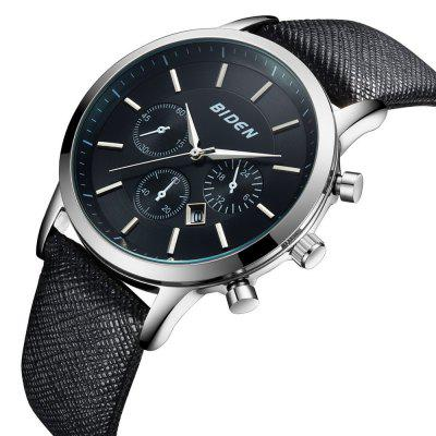 BIDEN Quartz Leather Strap Sports Male WristwatchMens Watches<br>BIDEN Quartz Leather Strap Sports Male Wristwatch<br><br>Available Color: Silver,Gold<br>Band material: Leather<br>Case material: Alloy<br>Clasp type: Pin buckle<br>Display type: Analog<br>Movement type: Quartz watch<br>Package Contents: 1 x Watch<br>Package size (L x W x H): 26.00 x 0.45 x 13.70 cm / 10.24 x 0.18 x 5.39 inches<br>Package weight: 0.6400 kg<br>Product size (L x W x H): 24.00 x 0.43 x 11.40 cm / 9.45 x 0.17 x 4.49 inches<br>Product weight: 0.5400 kg<br>Shape of the dial: Round<br>Watch mirror: Mineral glass<br>Watch style: Casual, Business<br>Watches categories: Men<br>Water resistance: Life water resistant