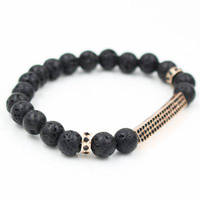 Trendy Pave Setting Black Crystal Bar Bracelet For Women Men 8MM Lava Stone Bead Elastic Rock BraceletsBracelets &amp; Bangles<br>Trendy Pave Setting Black Crystal Bar Bracelet For Women Men 8MM Lava Stone Bead Elastic Rock Bracelets<br><br>Closure Type: Easy hook<br>Diameter of Bangle: about 6cm<br>Gender: Unisex<br>Item Type: Strand Bracelets<br>Length of Chain: about 18.5-19cm<br>Metal Type: Alloy<br>Necklace Type: Wire-cable Chain<br>Package Contents: 1xbracelet<br>Package size (L x W x H): 11.00 x 13.00 x 1.00 cm / 4.33 x 5.12 x 0.39 inches<br>Package weight: 0.0300 kg<br>Product size (L x W x H): 6.00 x 6.00 x 1.00 cm / 2.36 x 2.36 x 0.39 inches<br>Setting Type: Bezel Setting<br>Shape/Pattern: Round<br>Style: Trendy