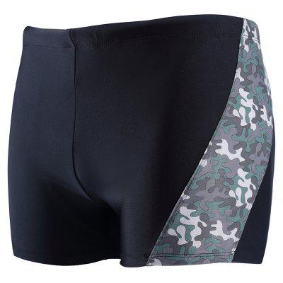 Daifansen A Quick Drying Black Camouflage Stitching Pool Straight Trunks
