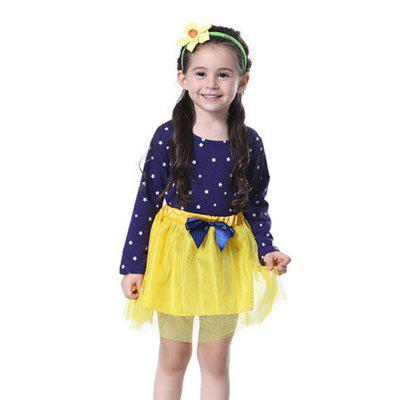 New Style Print Pattern with Bow Tie Design Dress Suit for Girl
