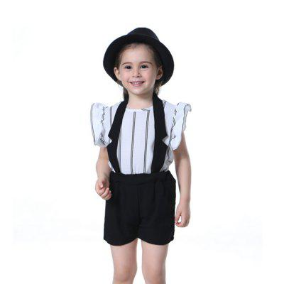 New Fashion Suspender with Sleeveless Shirt Suit for Girl