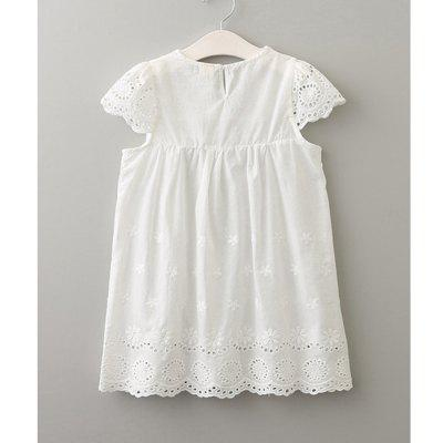Hollow Embroidered Sleeve Dress for GirlGirls dresses<br>Hollow Embroidered Sleeve Dress for Girl<br><br>Dresses Length: Knee-Length<br>Material: Cotton<br>Package Contents: 1 x Dress<br>Pattern Type: Solid<br>Silhouette: A-Line<br>Style: British<br>Weight: 0.1800kg<br>With Belt: No