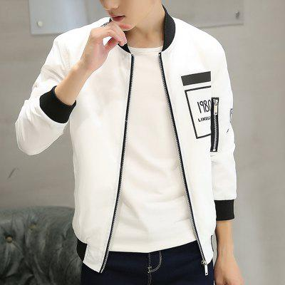 Men Thin Front Chest Print JacketMens Jackets &amp; Coats<br>Men Thin Front Chest Print Jacket<br><br>Clothes Type: Jackets<br>Collar: V-Neck<br>Material: Polyester<br>Package Contents: 1 x Jacket<br>Season: Spring<br>Shirt Length: Regular<br>Sleeve Length: Long Sleeves<br>Style: Casual<br>Weight: 0.5000kg