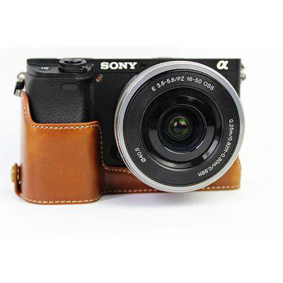 PU Leather Half Camera Case Bag Cover Base for Sony ILCE-6300 A6300