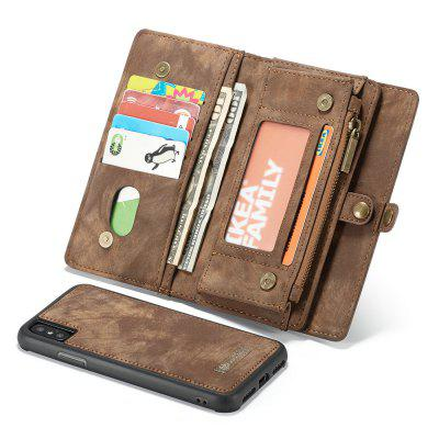 CaseMe For iPhone X Wallet Case Premium Zipper Leather Purse with Detachable Flip Magnetic Cover 11 Credit Card Slots