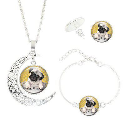Creative New Pug Necklace Earrings Bracelet Set