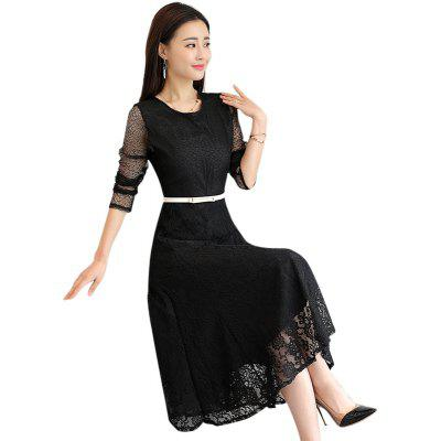 Large Size Slim Lace Long Sleeves DressWomens Dresses<br>Large Size Slim Lace Long Sleeves Dress<br><br>Dresses Length: Mid-Calf<br>Elasticity: Nonelastic<br>Fabric Type: Lace<br>Material: Lace<br>Neckline: Round Collar<br>Package Contents: 1 x Dress<br>Pattern Type: Solid<br>Season: Spring<br>Silhouette: A-Line<br>Sleeve Length: Long Sleeves<br>Style: Elegant<br>Weight: 0.4000kg<br>With Belt: Yes