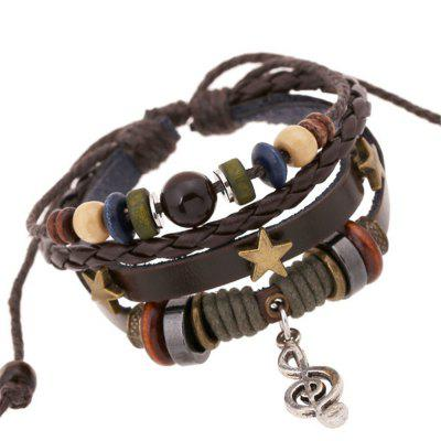 Beaded Alloy Note Leather Bracelet and Bangles For Men Jewelry