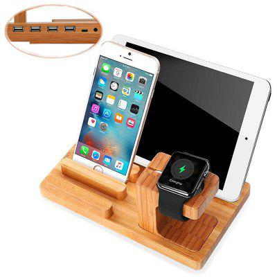 Bamboo Wood Charging Base Phone Stand Bracket Support for the Apple Watch iPhone