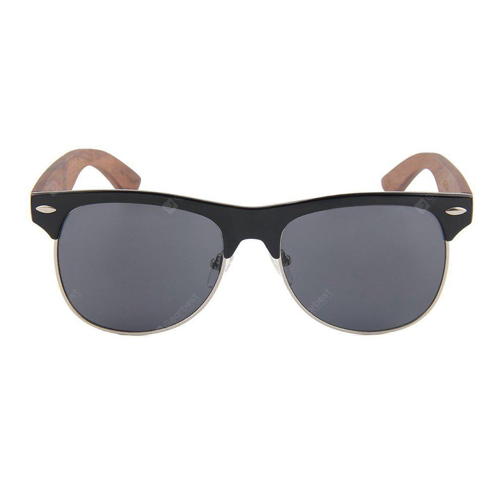 Fashion New Plastic Half Frame Sunglasses Unisex Metal Ring Wire Coated Wooden Foot Sunglasses 1029W