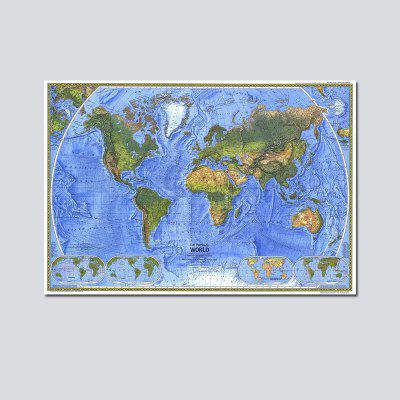 QiaoJiaHuaYuan No Frame Canvas Decoration Painting Office Study Living Room World Map Decoration Hanging Pictures