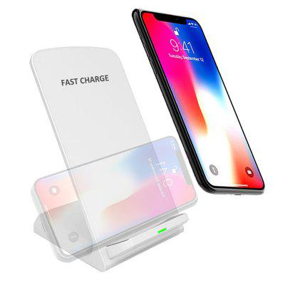 Minismile 10W / 5W Qi / QC Fast Wireless Charger Vertical or Horizontal Stand for iPhone X / 8 / 8 Plus / Samsung -White
