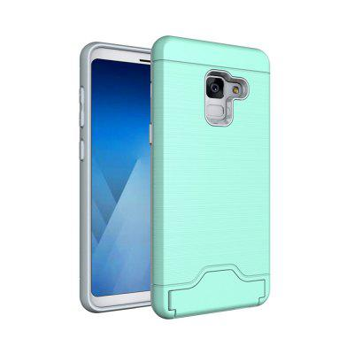 Case for Samsung Galaxy A8 2018 Card Holder with Stand Back Cover Solid Color Hard PC