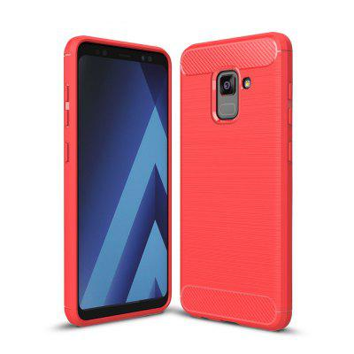 Case for Samsung Galaxy A8 Plus 2018 Shockproof Back Cover Solid Color Soft Carbon fiber