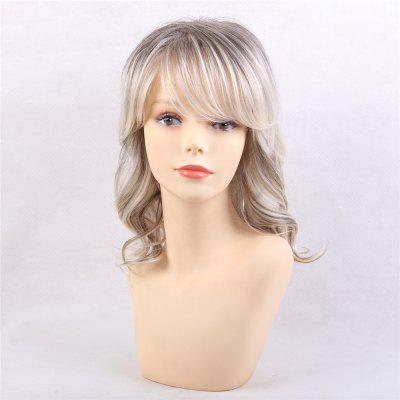 Trendy Mixed Color in Long Curls Human Hair Wigs Suitable for All Kinds of People