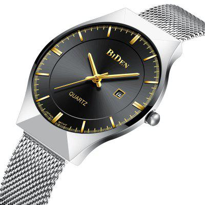 BIDEN Men Quartz Stainless Steel Calendar Simple Fashion Casual Unisex WatchUnisex Watches<br>BIDEN Men Quartz Stainless Steel Calendar Simple Fashion Casual Unisex Watch<br><br>Band material: Stainless Steel<br>Case material: Alloy<br>Clasp type: Hook buckle<br>Display type: Analog<br>Movement type: Quartz watch<br>Package Contents: 1 x Watch<br>Package size (L x W x H): 26.00 x 3.90 x 0.90 cm / 10.24 x 1.54 x 0.35 inches<br>Package weight: 0.6900 kg<br>People: Male table,Female table,Unisex table<br>Product size (L x W x H): 24.00 x 3.70 x 0.70 cm / 9.45 x 1.46 x 0.28 inches<br>Product weight: 0.5900 kg<br>Shape of the dial: Round<br>Special features: Day<br>Watch style: Casual, Fashion, Classic, Business<br>Water resistance: Life water resistant