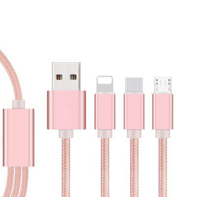 Quick Charging Nylon Braided 3 in 1 Micro USB Cable for iPhone / Android / Type-C