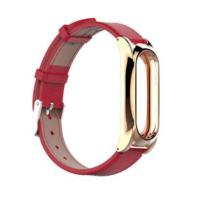 Replacement Leather Strap Wrist Band Plus For Xiaomi Mi Band 2 Metal Case