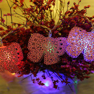 Iron Pink Hollow Butterfly LED Festival Banquet Decorative Lights String