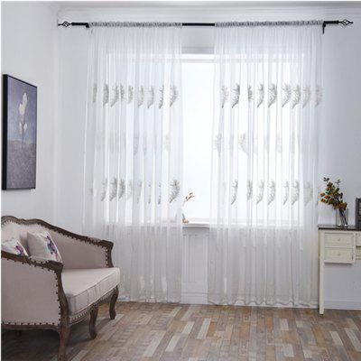 Home Feather Embroidery Thin Screens  Curtains
