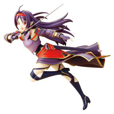 19CM Height Witty Girl with Purple Hair Brandishing A Sword Cartoon Action Figure Collectible Toy