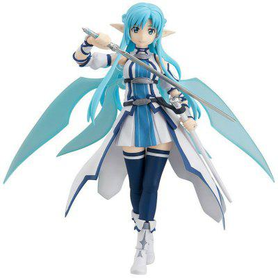 15CM Height Witty Girl with Bright Blue Hair Brandishing A Sword Cartoon Action Figure Collectible Toy