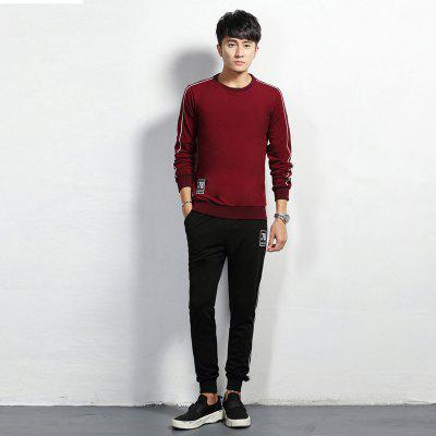 Round Collar Set Head Leisure Sport Men SuitSport Clothing<br>Round Collar Set Head Leisure Sport Men Suit<br><br>Material: Polyester, Spandex<br>Package Contents: 1 x  Coat,  1 x Pants<br>Pattern Type: Solid<br>TZ916CY: None<br>Weight: 0.8000kg