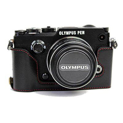 PU Leather Half Camera Case Bag Cover Base for Olympus PEN-F