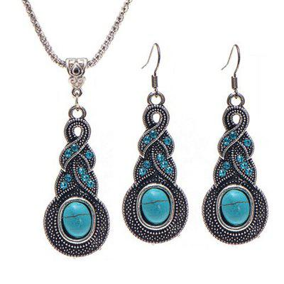 Fashion Vintage Blue Crystal Turquoise Necklace Earrings Set