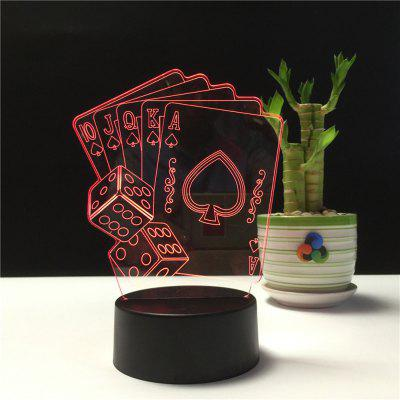 3D Playing CARDS Night Light Plug LED Stereo Bedroom Bedside Lamp