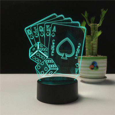 3D Playing CARDS Remote Control Board USB Touch 7 Color Night Light LED Bedroom Bedside Lamp