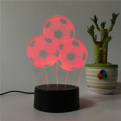 3D Three Football USB Touch And Control 7 Colour Night Light Bedroom Bedside LED Lamp