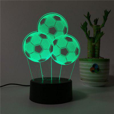 3D Three Football Remote Control Board USB Touch 7 Color Night Light LED Bedroom Bedside Lamp