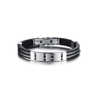Men's Stainless Steel Bracelet 7.67 Inches Silicone Wristband  Bangle
