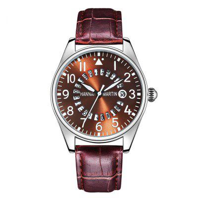 Men Sports Casual Pilots Bamboo Joint Leather Band Wrist Watch with Calendar