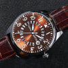 Men Sports Casual Pilots Bamboo Joint Leather Band Wrist Watch with Calendar - BROWN