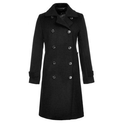 Long Sleeve Notched Collar Solid Women Coat