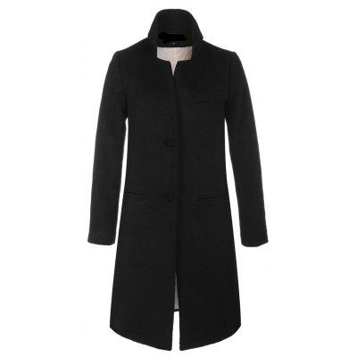 Single Breasted Solid Long Sleeve Thicken Women Coat