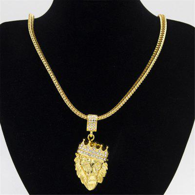 Alloy Lion Head Pendant Inlay Rhinestone Necklace HipHop Lion King Crown Franco Chain Jewelry