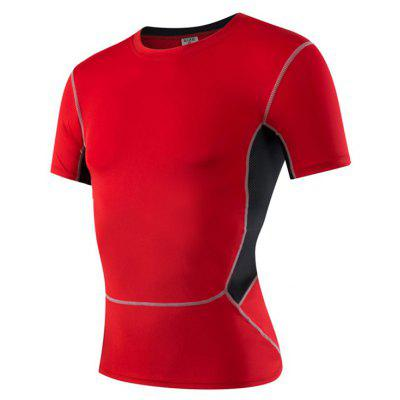 Buy Men's Sports Fitness Running Stretch T-Shirts RED L for $18.97 in GearBest store