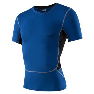 Buy Men's Sports Fitness Running Stretch T-Shirts BLUE 2XL for $18.97 in GearBest store