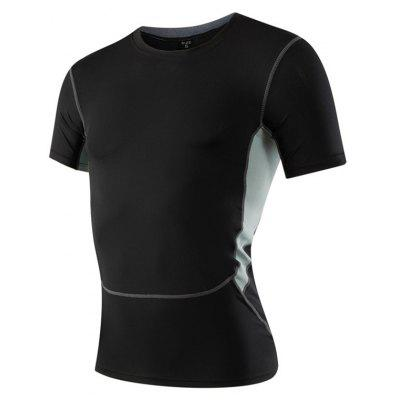 Buy Men's Sports Fitness Running Stretch T-Shirts BLACK L for $18.97 in GearBest store