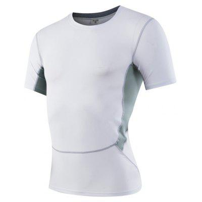 Buy Men's Sports Fitness Running Stretch T-Shirts WHITE XL for $18.97 in GearBest store