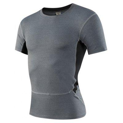 Buy Men's Sports Fitness Running Stretch T-Shirts GRAY L for $18.97 in GearBest store