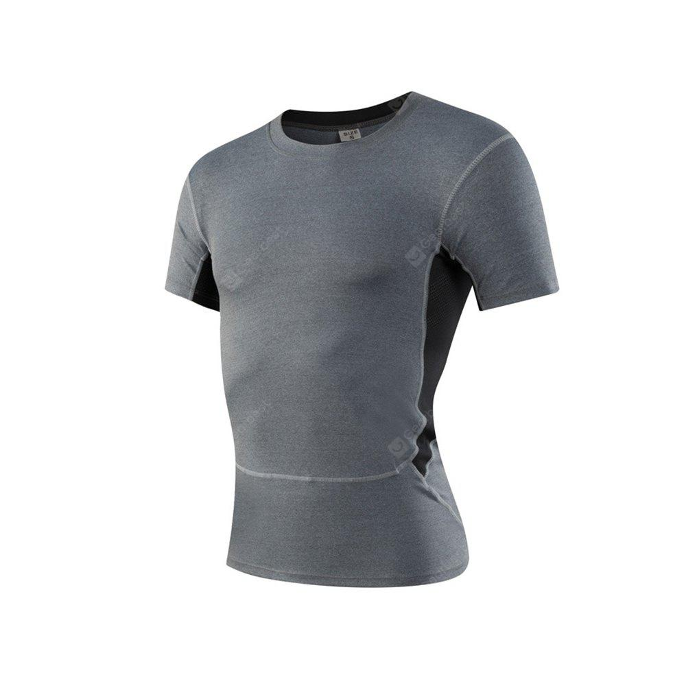Men's Sports Fitness Running Stretch T-Shirts GRAY M