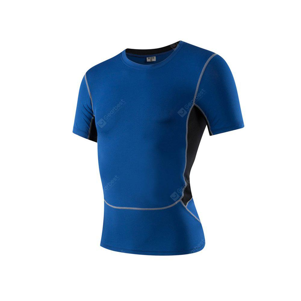 Men's Sports Fitness Running Stretch T-Shirts BLUE M